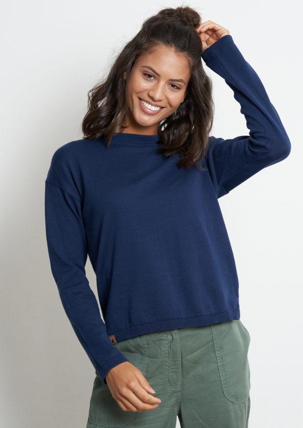 Recolution Damen Pullover Knit Crew Neck dark summer blue