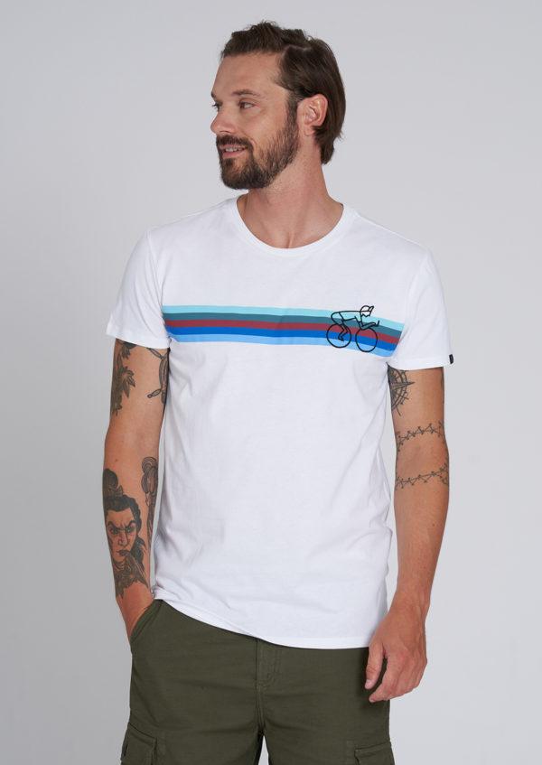 Recolution Herren T-Shirt Casual Bikestripe white