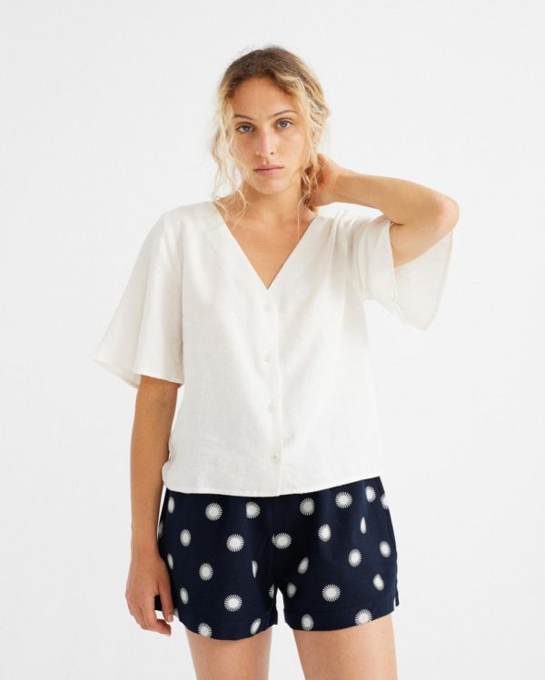 Thinking Mu Damen Bluse Libelula white Hemp