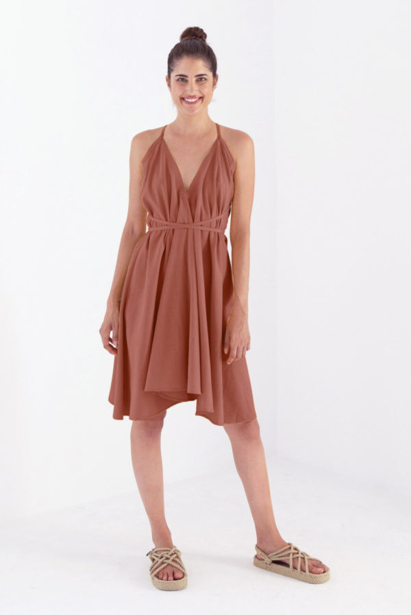 Suite 13 Damen Kleid Mulitposition Short Dress Cotton Linen Onesize brandy