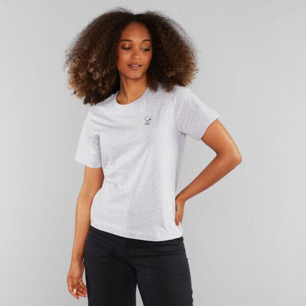 Dedicated Damen T-Shirt Mysen Snoopy Grey Melange