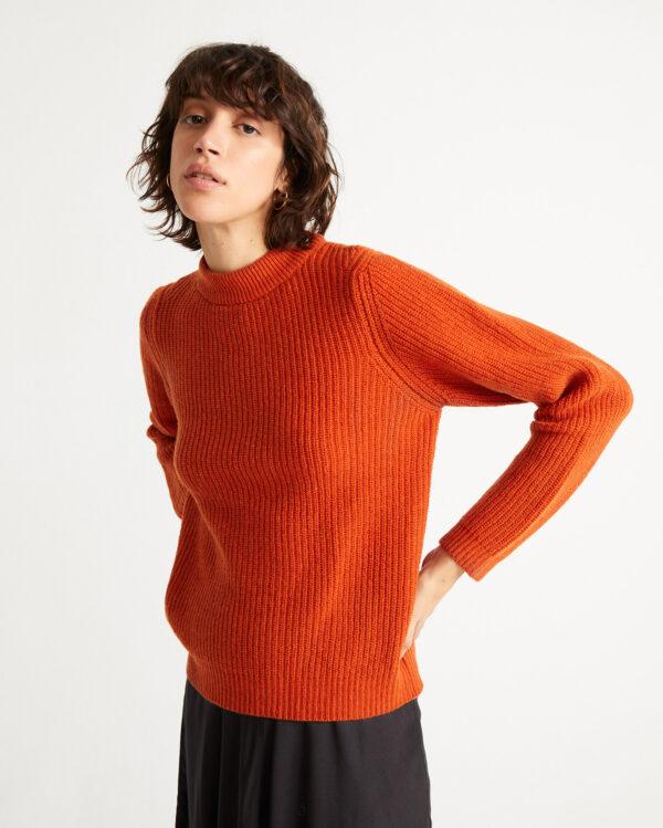 Thinking Mu Damen Pullover Hera Knitted Orange